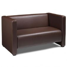 Vanna Flow Faux Leather Sofa in Brown